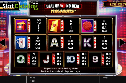 Paytable. Deal or No Deal Megaways (Video Slot from Blueprint)