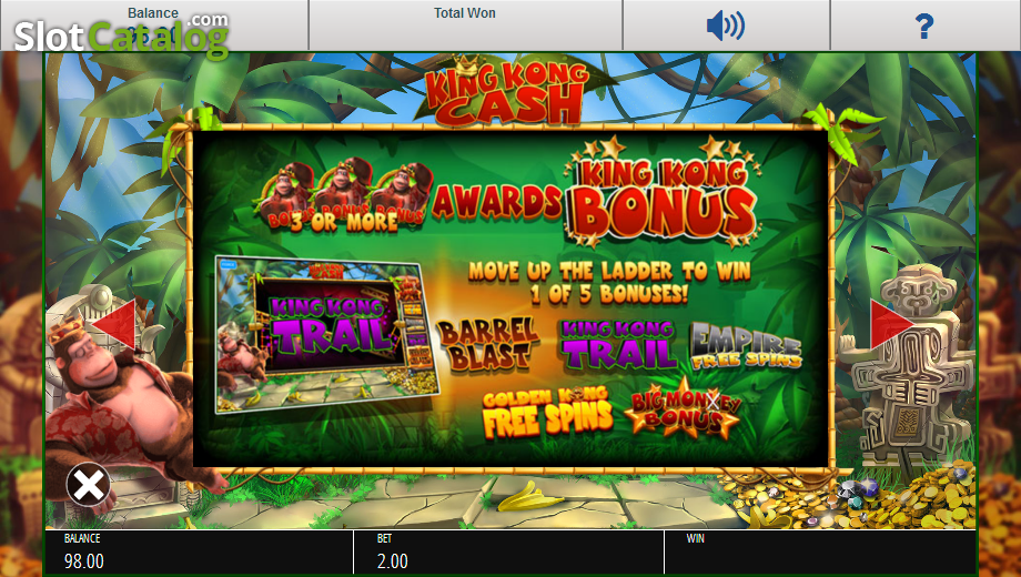 Review of king kong cash video slot from blueprint slotcatalog paytable 2 malvernweather Images