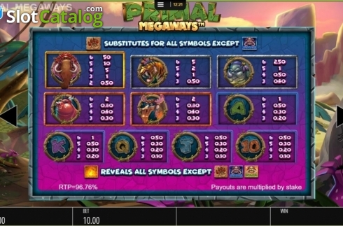 Paytable. Primal MegaWays (Video Slots from Blueprint)