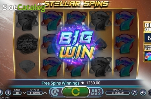 Big Win. Stellar Spins (Video Slots from Booming Games)