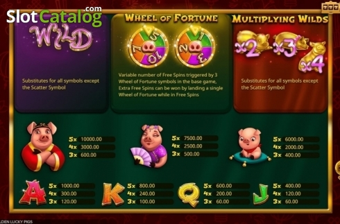 Paytable. Golden Lucky Pigs (Video Slot from Booming Games)