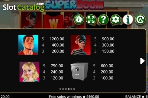 Paytable 1. Super Boom (Video Slot from Booming Games)
