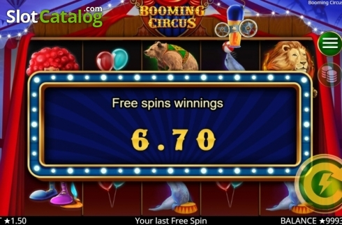 Skärm8. Booming Circus (Video Slot från Booming Games)