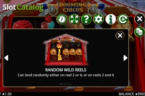 Skärm9. Booming Circus (Video Slot från Booming Games)