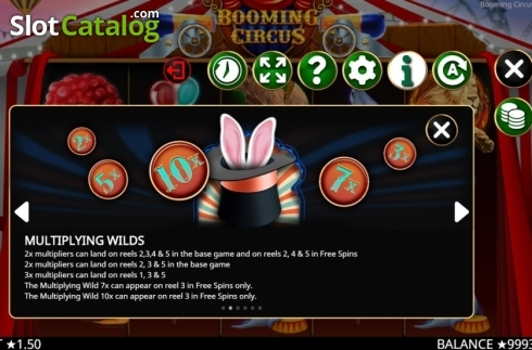 Skärm10. Booming Circus (Video Slot från Booming Games)