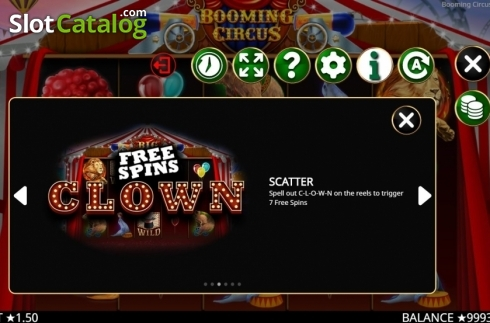 Skärm11. Booming Circus (Video Slot från Booming Games)