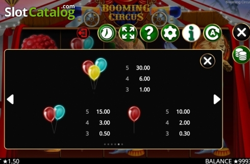 Skärm13. Booming Circus (Video Slot från Booming Games)