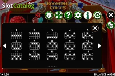 Skärm14. Booming Circus (Video Slot från Booming Games)