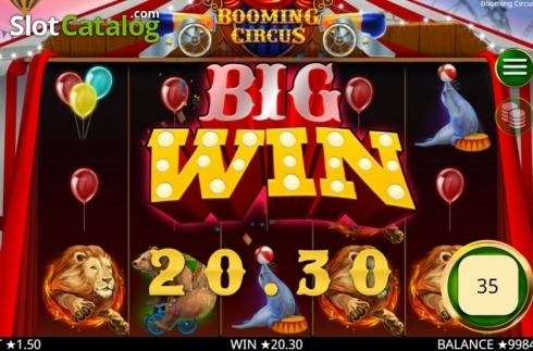 Skärm4. Booming Circus (Video Slot från Booming Games)