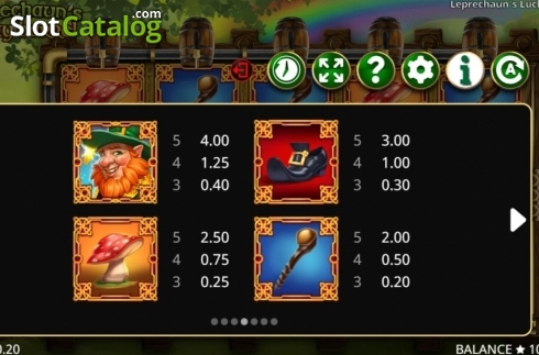 Paytable 1. Leprechaun's Lucky Barrel (Video Slots from Booming Games)