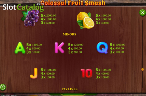 Scherm11. Colossal Fruit Smash (Video Slot van Booming Games)