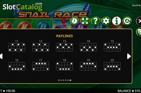Paylines 2. Snail Race (Video Slot from Booming Games)
