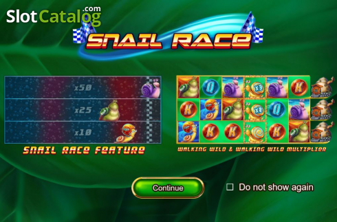 Start Screen. Snail Race (Video Slot from Booming Games)