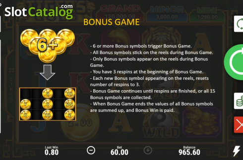 Skjerm10. Tiger's Gold Hold and Win (Video Slot fra Booongo)