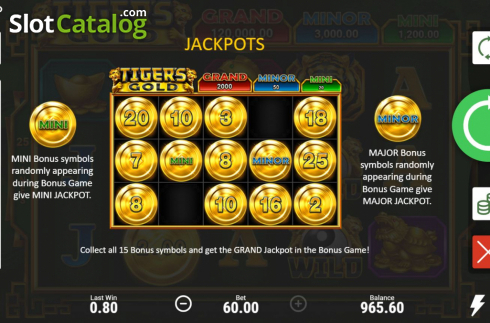Skjerm11. Tiger's Gold Hold and Win (Video Slot fra Booongo)