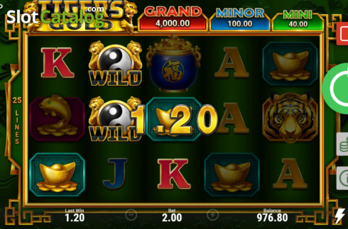 Skjerm4. Tiger's Gold Hold and Win (Video Slot fra Booongo)