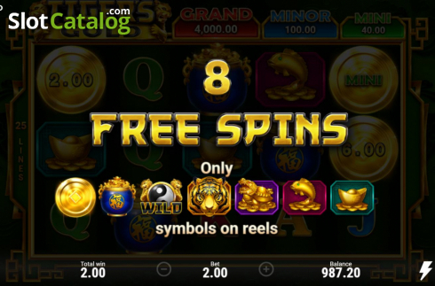 Skjerm5. Tiger's Gold Hold and Win (Video Slot fra Booongo)
