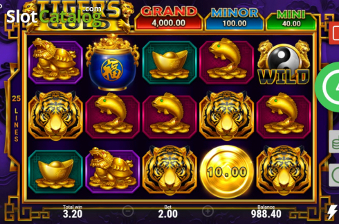 Skjerm6. Tiger's Gold Hold and Win (Video Slot fra Booongo)