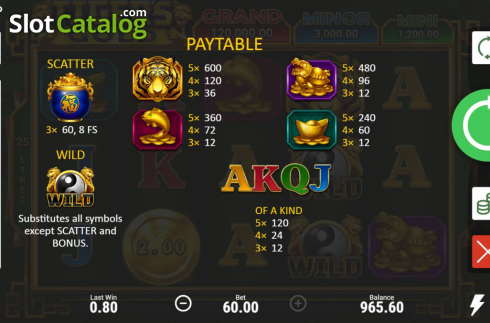 Skjerm8. Tiger's Gold Hold and Win (Video Slot fra Booongo)
