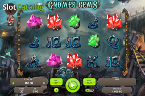 Game Workflow screen. Gnomes' Gems (Video Slot from Booongo)