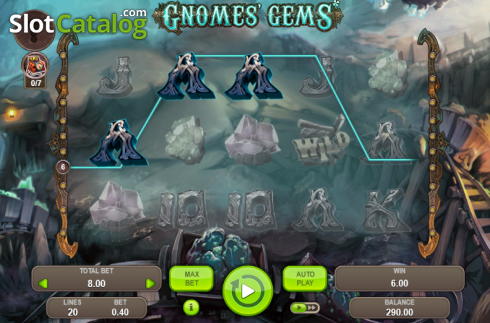 Win Screen. Gnomes' Gems (Video Slot from Booongo)