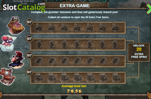 Extra Game screen. Gnomes' Gems (Video Slot from Booongo)