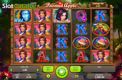 Game Workflow screen. Poisoned Apple (Video Slot from Booongo)