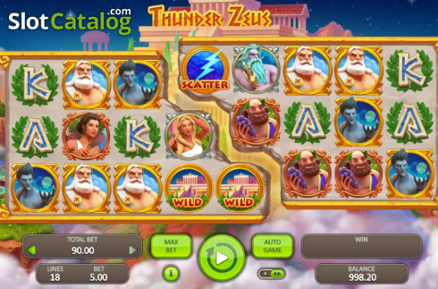 Game Workflow screen. Thunder Zeus (Video Slot from Booongo)