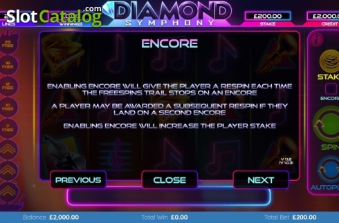 Features 2. Diamond Symphony (Video Slots from Bulletproof Games)