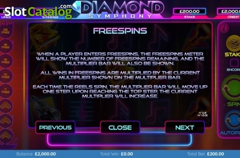 Features 3. Diamond Symphony (Video Slots from Bulletproof Games)