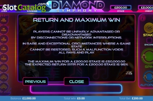 Features 4. Diamond Symphony (Video Slots from Bulletproof Games)
