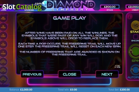 Features 1. Diamond Symphony (Video Slots from Bulletproof Games)