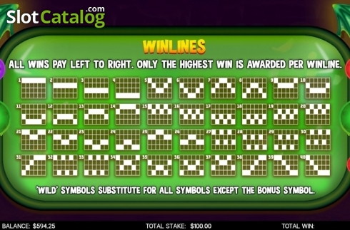 Paylines. Flamin Elle (Video Slot from CORE Gaming)