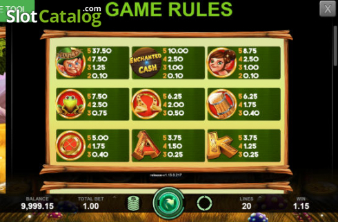 Max Win Screen. Enchanted Cash (Video Slot from Caleta Gaming)