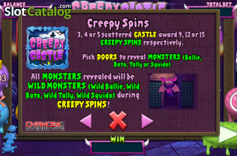 Betalingstabell 2. Creepy Castle (Video Slot fra Chance Interactive)