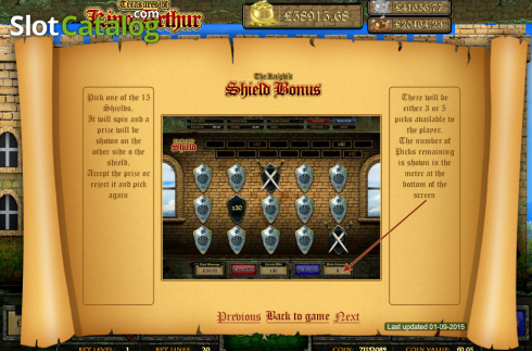 Screen10. Treasures of King Arthur (Video Slot from Cozy)