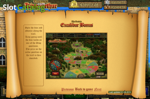 Screen11. Treasures of King Arthur (Video Slot from Cozy)