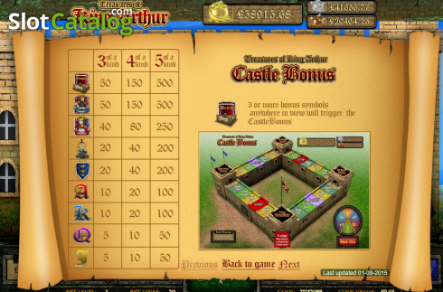 Screen2. Treasures of King Arthur (Video Slot from Cozy)