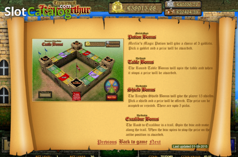 Screen3. Treasures of King Arthur (Video Slot from Cozy)