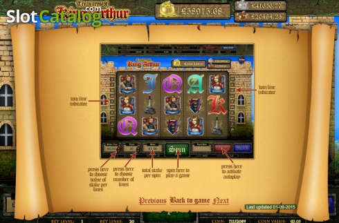 Screen4. Treasures of King Arthur (Video Slot from Cozy)