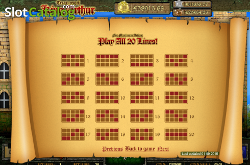 Screen5. Treasures of King Arthur (Video Slot from Cozy)
