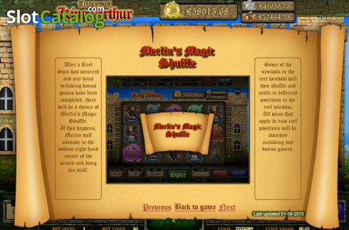 Screen6. Treasures of King Arthur (Video Slot from Cozy)