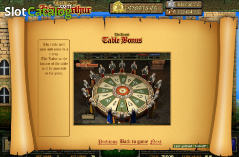 Screen9. Treasures of King Arthur (Video Slot from Cozy)