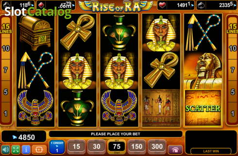 Schermo7. Rise of Ra (Video Slot a partire dal EGT)