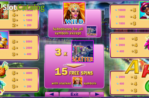 Screen3. Queen of Rio (Video Slot from EGT)