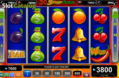 Game Workflow screen. 30 Spciy Fruits (Video Slot from EGT)