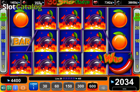 Win Screen. 30 Spciy Fruits (Video Slot from EGT)