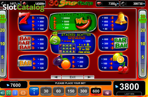 Paytable 1. 30 Spciy Fruits (Video Slot from EGT)