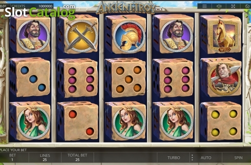 Reels screen. Ancient Troy Dice (Video Slot from Endorphina)