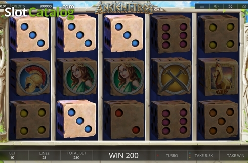 Win screen. Ancient Troy Dice (Video Slot from Endorphina)
